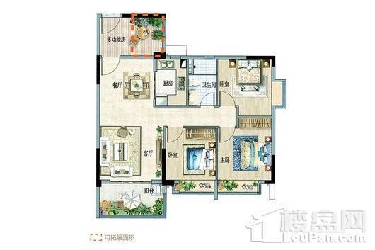 富力悦海湾B组团3-6户型 3室2厅1卫1厨