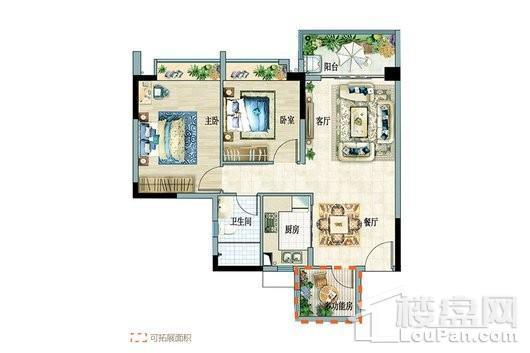 富力悦海湾B组团1-2户型 2室2厅1卫1厨