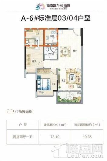 富力悦海湾A-6#03/04户型 2室2厅1卫1厨