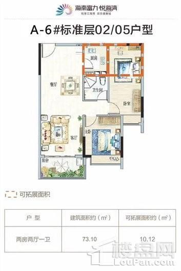 富力悦海湾A-6#02/05户型 2室2厅1卫1厨
