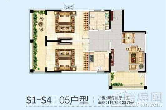 三亚半岛蓝湾S1-S4栋05户型 2室2厅1卫1厨