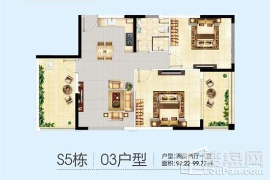 三亚半岛蓝湾S5栋03户型 2室2厅1卫1厨