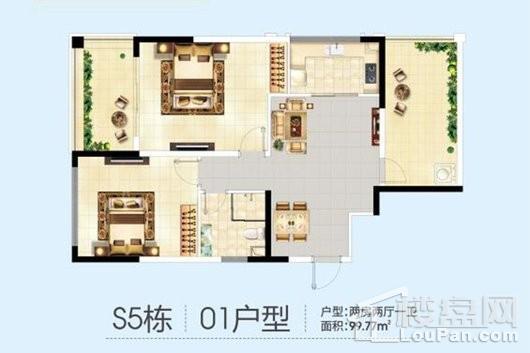 三亚半岛蓝湾S5栋01户型 2室2厅1卫1厨