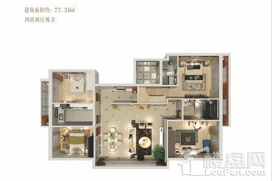 观澜湖·观园B户型 4室2厅2卫1厨