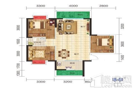 滨江名苑B2户型 3室2厅1卫1厨