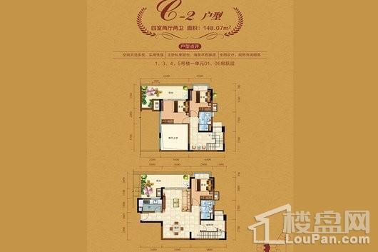 中视金海湾二期1/3/4/5栋C2户型 4室2厅2卫1厨