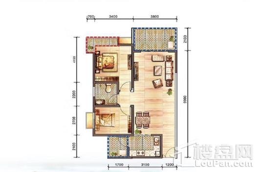 汇泽·蓝海湾B-2户型 2室2厅1卫1厨
