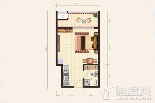 东方·西海岸A-3户型 1室1厅1卫1厨