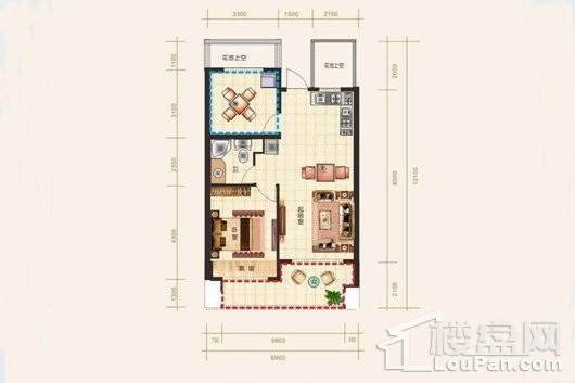 东方·西海岸B-2户型 2室2厅1卫1厨