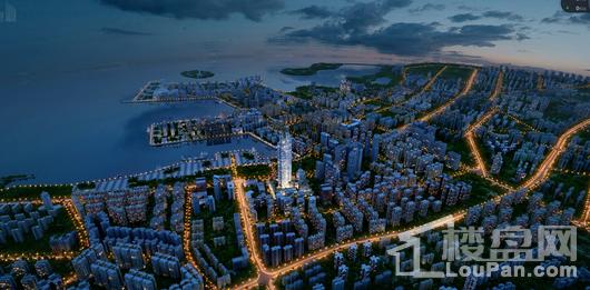 海口中心鸟瞰夜景