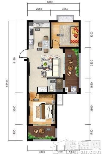 清水湾智汇城F户型图 2室2厅1卫1厨