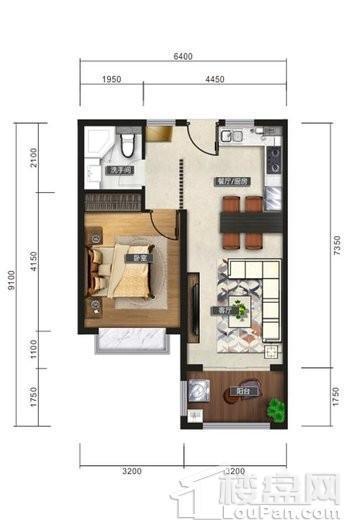 清水湾智汇城E户型图 1室2厅1卫1厨