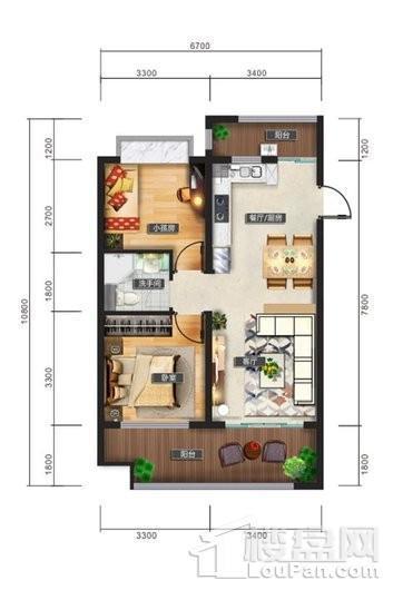 清水湾智汇城C2户型图 2室2厅1卫1厨