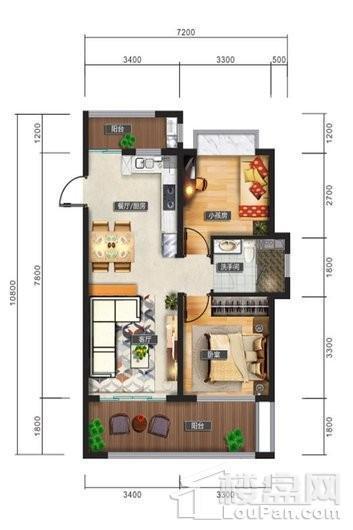 清水湾智汇城C1户型图 2室2厅1卫1厨