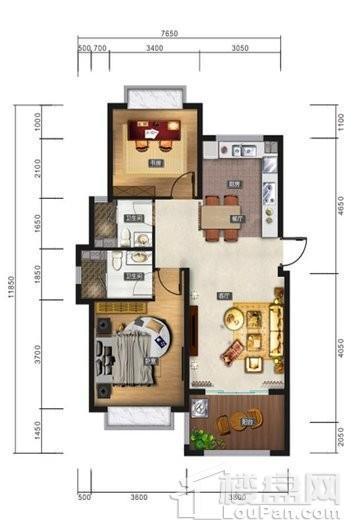 清水湾智汇城B1户型 2室2厅2卫1厨