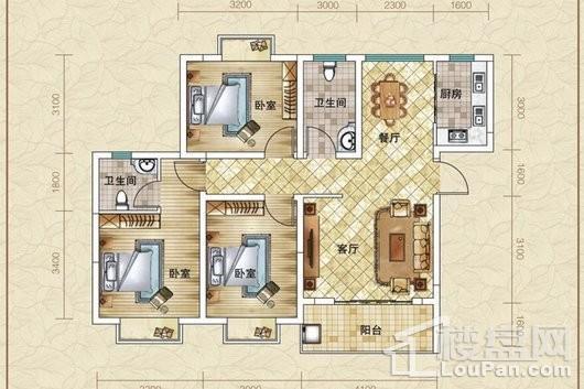 水漾人家A2户型 3室2厅2卫1厨