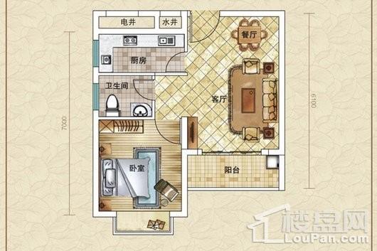 水漾人家A1户型 1室1厅1卫1厨