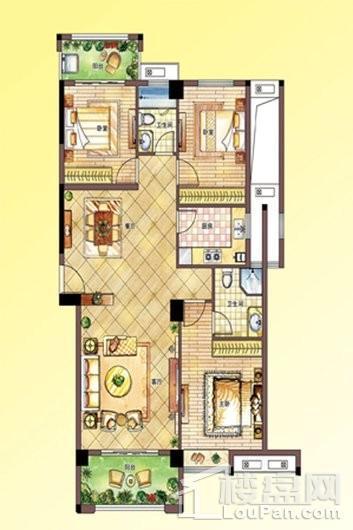 南联时代广场B户型--1#楼3单元_5单元 3室2厅2卫1厨