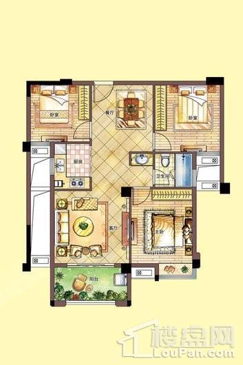 南联时代广场c户型-1#楼2单元_6单元 3室2厅1卫1厨