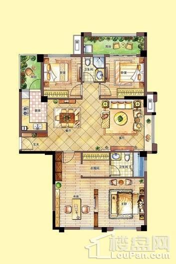 南联时代广场D户型--2#楼1单元_7单元 4室2厅2卫1厨