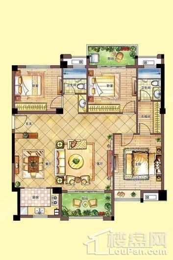 南联时代广场e户型-2#楼2单元_6单元 3室2厅2卫1厨