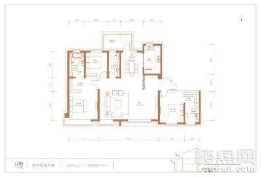世界1號空中水景平墅偶户型 3室2厅2卫1厨