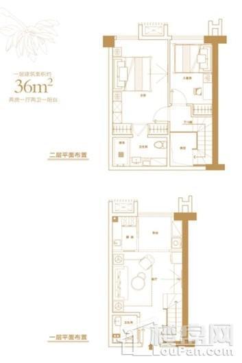 刺桐城里36㎡户型图 2室1厅2卫1厨
