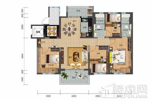 碧桂园·剑桥郡YJ125 户型 4室2厅2卫1厨