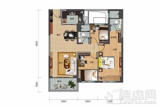 碧桂园·剑桥郡Y316-B户型 3室2厅2卫1厨