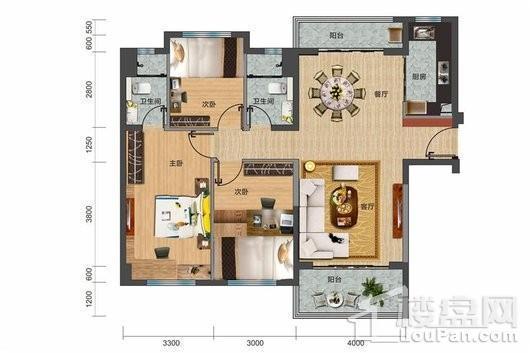 碧桂园·剑桥郡Y316-A户型 3室2厅2卫1厨