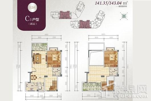 宝源花园三期户型C跃层2 2室3厅2卫1厨