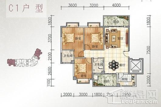 宝源花园三期C1户型 3室2厅2卫1厨
