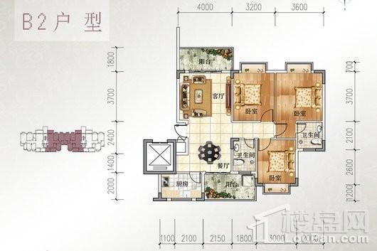 宝源花园三期B2户型 3室2厅2卫1厨