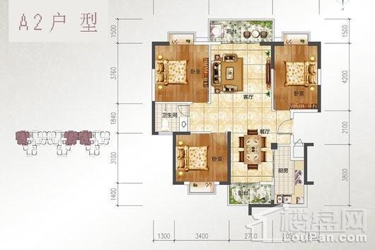 宝源花园三期A2户型 3室2厅1卫1厨