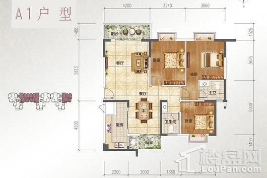 宝源花园三期A1户型 3室2厅2卫1厨