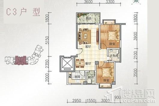 宝源花园三期C3户型 2室2厅1卫1厨
