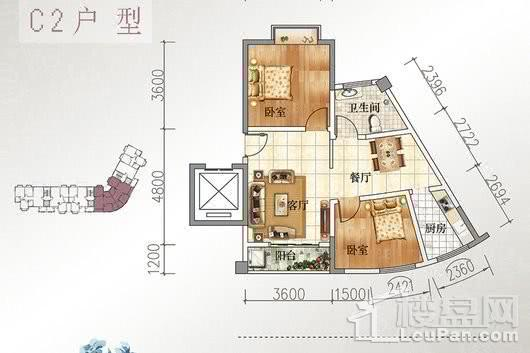宝源花园三期C2户型 2室2厅1卫1厨