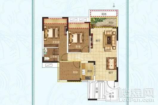 建业·法国维希小镇B3户型 2室2厅1卫1厨