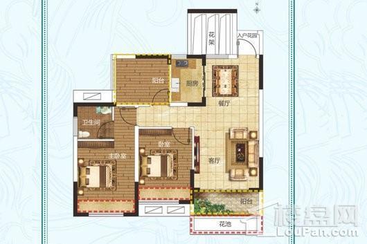 建业·法国维希小镇B2户型 2室2厅1卫1厨