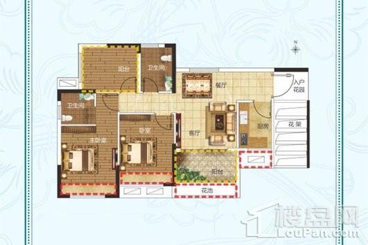 建业·法国维希小镇B1户型 2室2厅1卫1厨