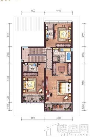 碧桂园中央半岛独栋A户型二层户型图 6室4厅6卫2厨