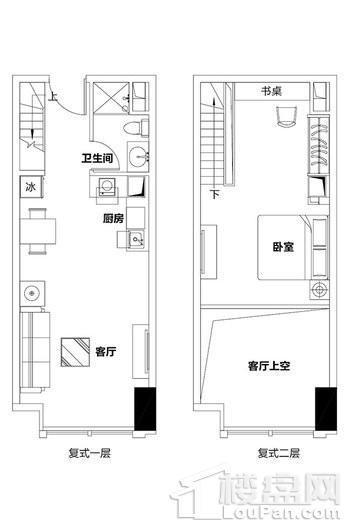 泉州恒大都市广场1单元复式公寓A、C户型 1室2厅1卫1厨