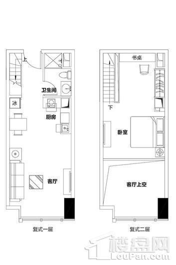 泉州恒大都市广场2单元复式公寓A、F、G户型 1室1厅1卫1厨