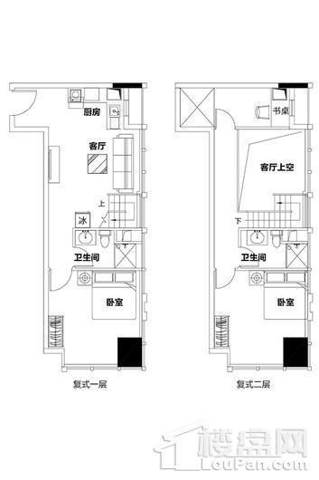 泉州恒大都市广场2单元复式公寓D、E户型 2室1厅2卫1厨
