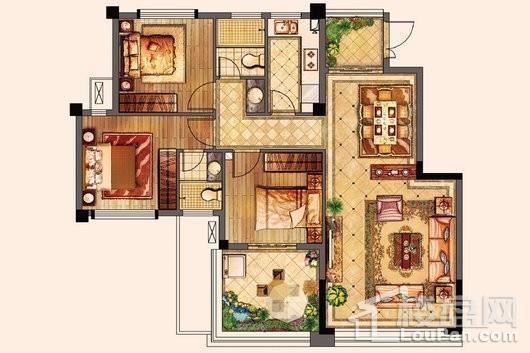 百宏御墅香堤洋房100㎡ 3室2厅2卫1厨