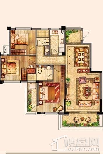 百宏御墅香堤洋房117㎡ 3室2厅2卫1厨
