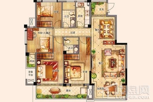 百宏御墅香堤洋房135㎡ 4室2厅2卫1厨