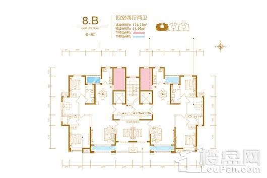 润德天悦城B-8#标准层8B户型 4室2厅2卫1厨