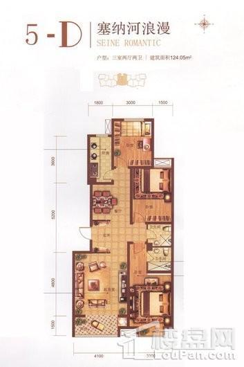 润德天悦城C2-3#4#5#标准层D户型 3室2厅2卫1厨
