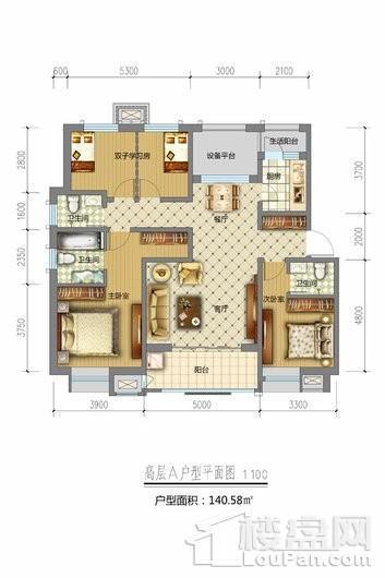 天山熙湖三期高层A户型 4室2厅3卫1厨